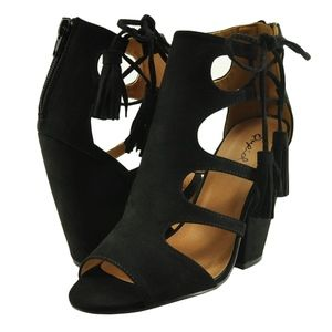 Qupid Sawyer 44 Black Women's Cut Out Lace Up Peep